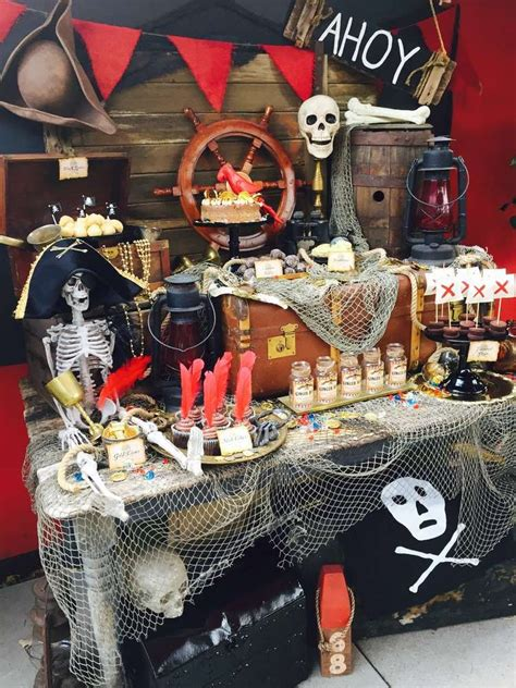 Pirate Decoration Ideas - dessert table at a pirate birthday see more