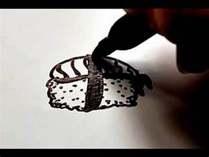 How to Draw a Cartoon Sushi Roll v2 - YouTube