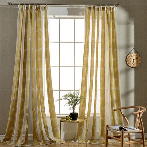 floor  ceiling long leaf striped sheer curtains