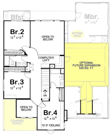 House Plan 68342 Country Style with 3054 Sq Ft 4 Bed 3