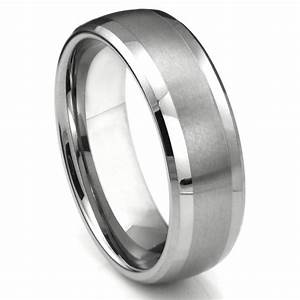 Tungsten Carbide Dome Matte Center Wedding Band Ring