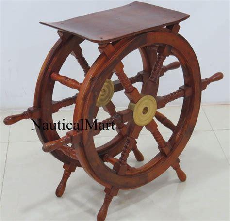 nauticalmart  wood brass nautical ship wheel table amazoncouk kitchen home muebles