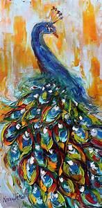 Original oil painting Luminous Peacock Bird Palette knife ...