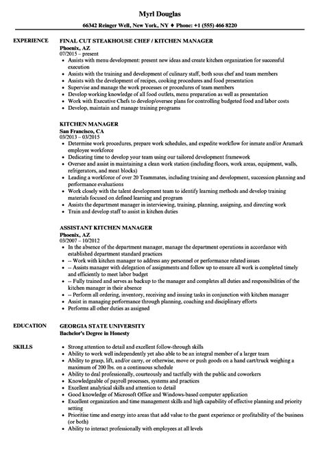 Kitchen Manager Skills Resume by Kitchen Manager Resume Sles Velvet