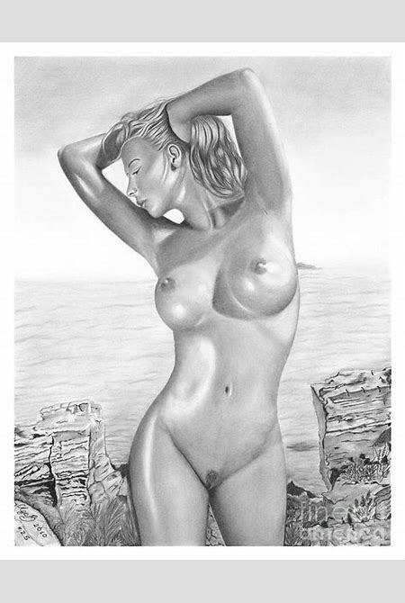 Original Pencil Drawing Nude Girl Www.olgabell.ca Drawing by Olga Bell