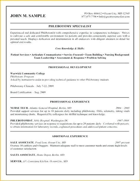 Non Chronological Resume Sles by 9 10 Phlebotomy Description For Resume Lascazuelasphilly