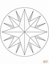 Compass Rose Coloring Point Line Drawing Pages Draw Printable Template Easy Pocket Paper Getdrawings 1621 Icons sketch template