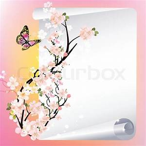 Vector frame with beautiful flowers and butterfly Stock