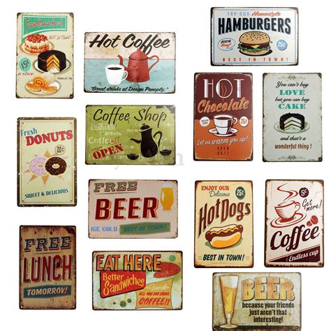 plaque deco cuisine retro retro plaque metal food émaillée affiche mural