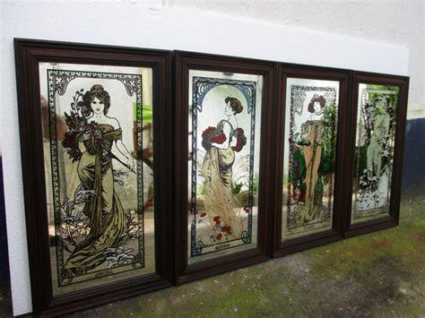 alphonse mucha rares miroirs peints vintage encadres allegoriques  saisons representant