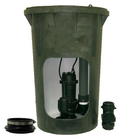 everbilt 1 2 hp submersible pre plumbed sewage basin