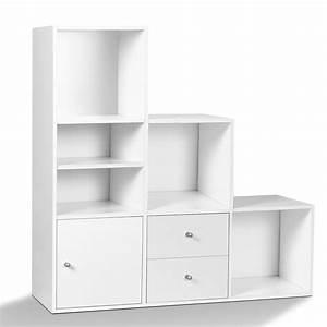 Grand Meuble De Rangement : meuble de rangement escalier 3 niveaux bois blanc avec ~ Teatrodelosmanantiales.com Idées de Décoration