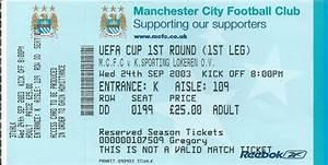MCFC European Home & Away Tickets - Manchester City Programmes