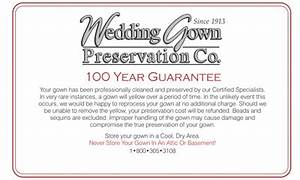 wedding gown preservation guarantee for 100 years With wedding gown preservation company