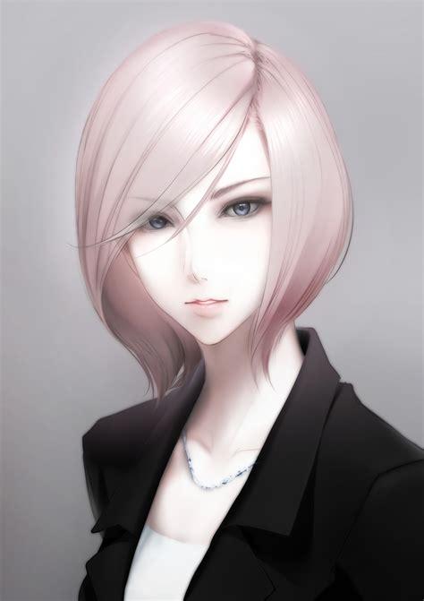 original characters short hair gray eyes blonde anime