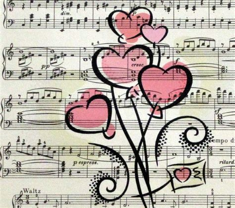 Make your diy project unique which ever it is, scrap. Hearts Print on Vintage Sheet Music, Customizable ...