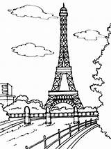 Eiffel Tower Coloring Paris Moon sketch template
