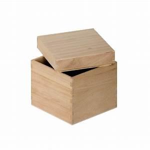 Boite à Thé Bois : boite cube bois 12cm tout creer ~ Teatrodelosmanantiales.com Idées de Décoration