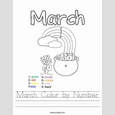 March Color By Number Worksheet  Twisty Noodle