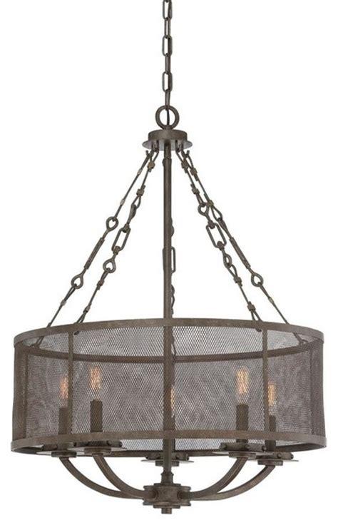 five light metal shade galaxy bronze drum shade chandelier