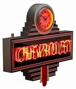 Chevrolet Art Deco Clock Dealer Neon Sign ChevyMall