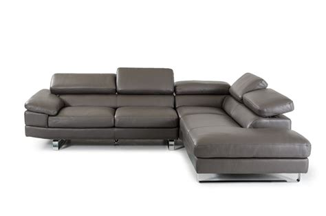 Violetta Italian Grey Leather Sectional Made In Italy