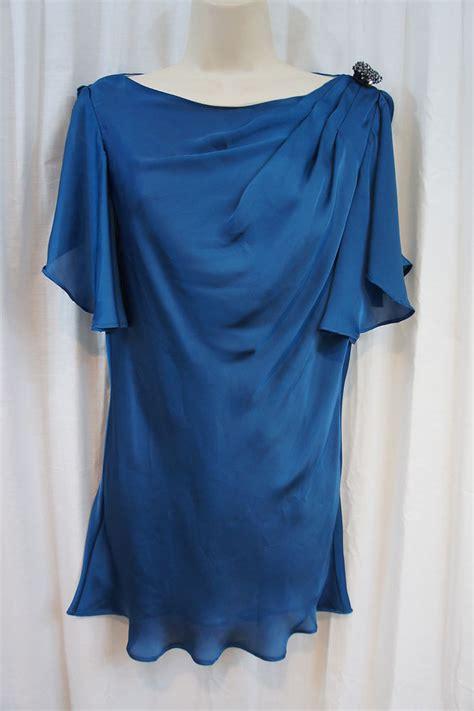 evening blouse js collection top sz 6 teal blue embellished sheer organza