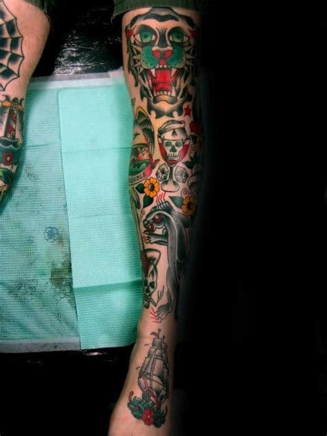 50 Traditional Leg Tattoos For Men - Old School Design Ideas