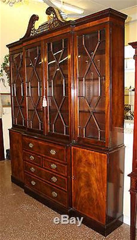 Baker Breakfront China Cabinet by Best Quality Baker Chippendale Mahogany Breakfront