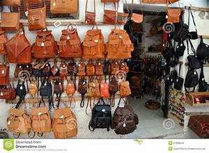 Leather bag shop stock photo. Image of mediterranean ...