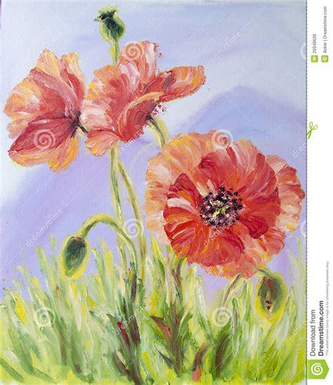 peintures a l huile sur toile pavots peinture 224 l huile sur la toile images libres de droits image 26948639