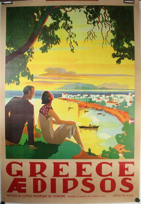 Greece, Original Vintage Deco travel, tourism poster