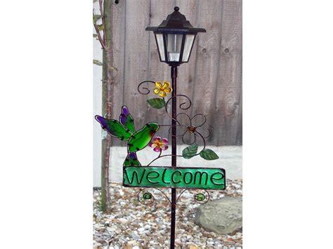 solar welcome sign led l lantern light outside garden