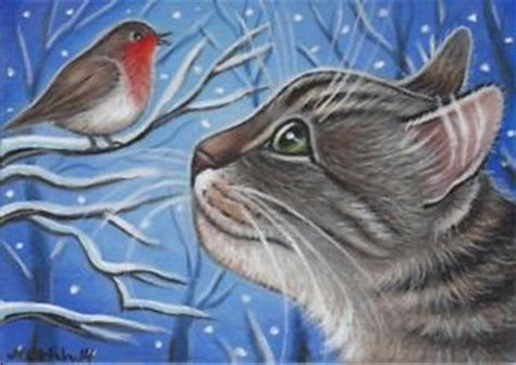 winter painting robin bird and tabby cats on pinterest