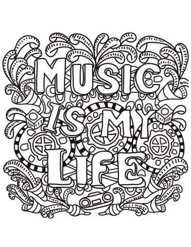 Music is My Life coloring page Free Printable Coloring Pages