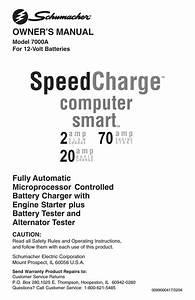 Schumacher 7000a Battery Charger User Manual