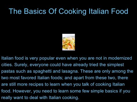 basics of cuisine the basics of cooking food
