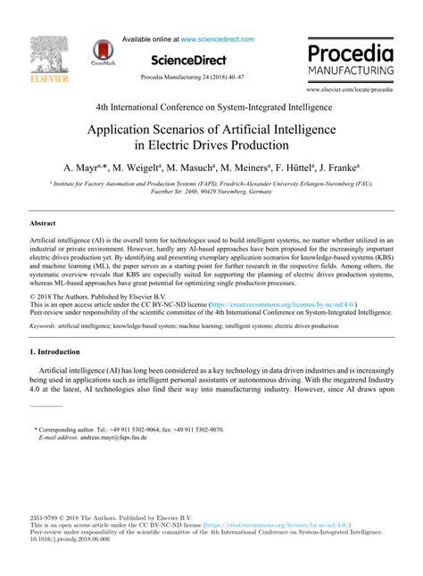 (PDF) Application Scenarios of Artificial Intelligence in