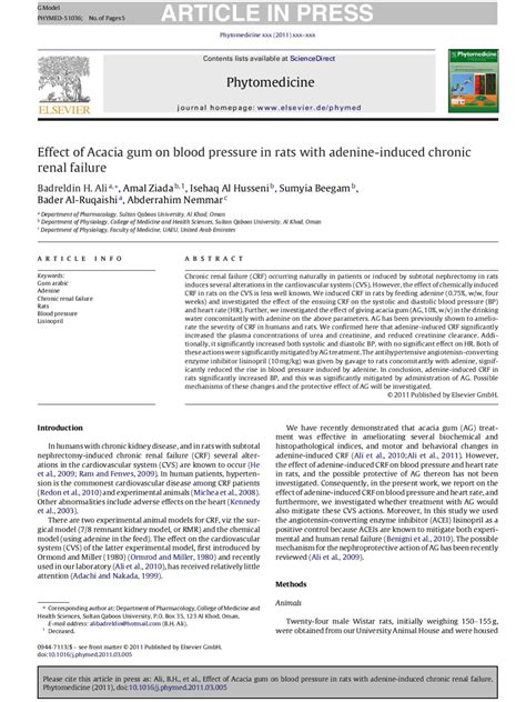 Effect Of Acacia Gum On Blood Pressure In Rats With