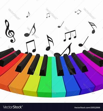 Piano Notes Musical Keys Rainbow Colored Vector