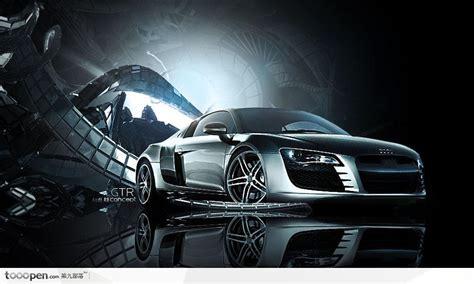 灰色3d质感金属背景上的奥迪汽车