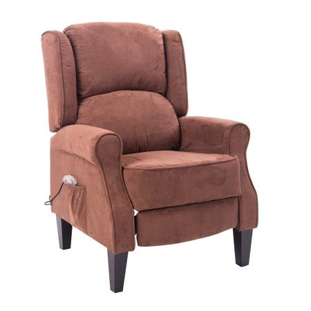 recliner chair walmart homcom heated vibrating suede recliner chair