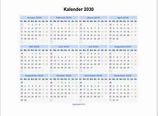 Kalender 2030 Jaarkalender en Maandkalender 2030 met