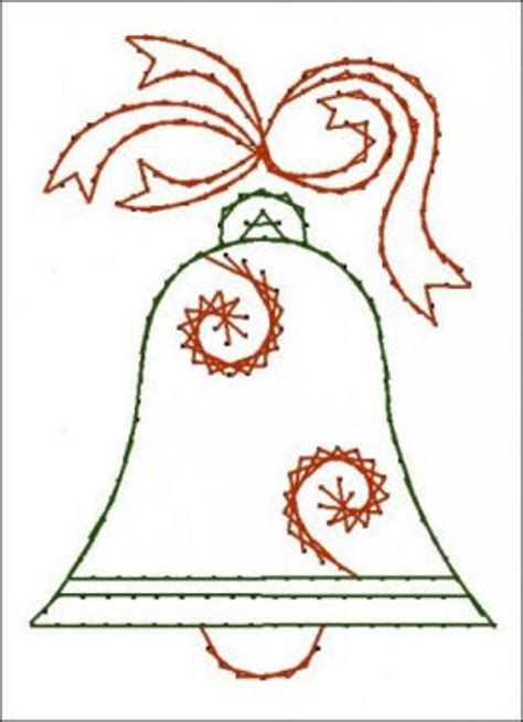 christmas bell paper embroidery pattern  greeting cards