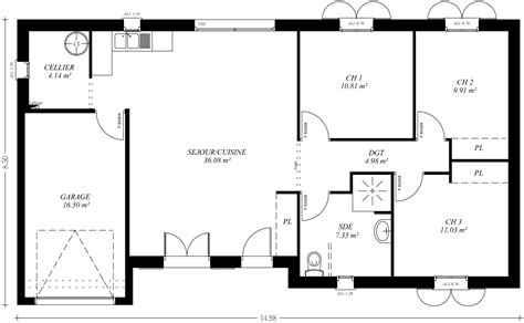 plan maison 90m2 3 chambres cuisine couleur maison construction le plan de maison