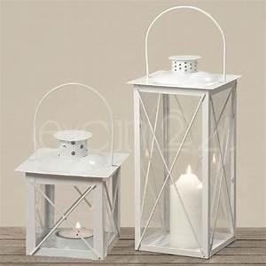 Windlicht Weiß Metall : windlicht laterne farol wei aus metall mit glas ~ Markanthonyermac.com Haus und Dekorationen