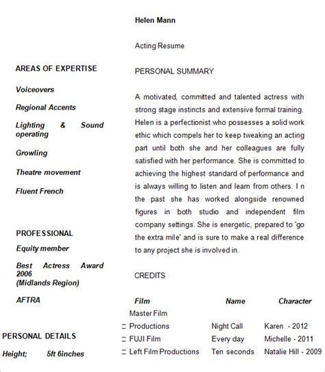 10 acting resume templates free sles exles
