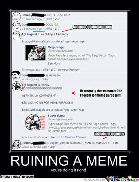 How To Put A Meme On Facebook Comments - ruining a meme in facebook comment by guildofheroes bossbearer meme center