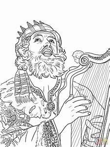 Koning David Speelt Op De Harp Kleurplaat Gratis Kleurplaten Printen