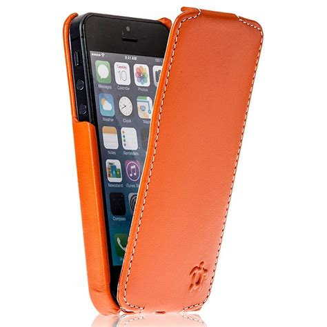 housse pour iphone 5 5s cuir orange blanc collection prestige